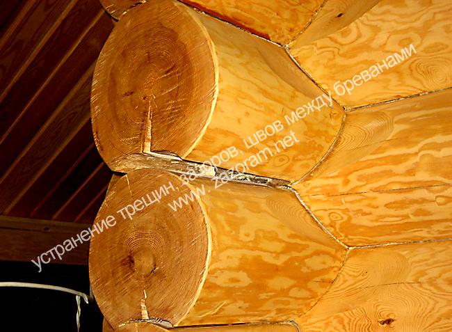 щели и зазоры между бревнами