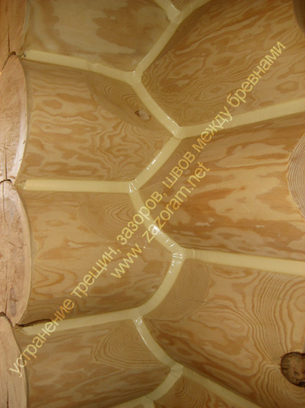 пример герметика утеплителя для деревянного дома бревна