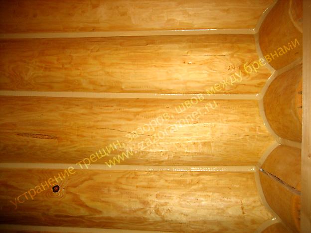 швы щели между венцами деревянного дома после устранения