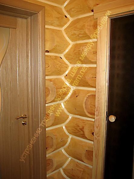применение эластичного герметика в деревянной бане сауне