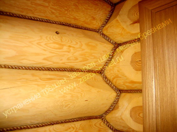фото декорирование щелей канатами