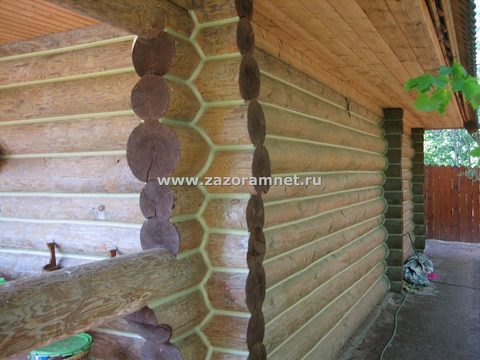 Пример утепления старого дома из бревна, герметиком теплый шов