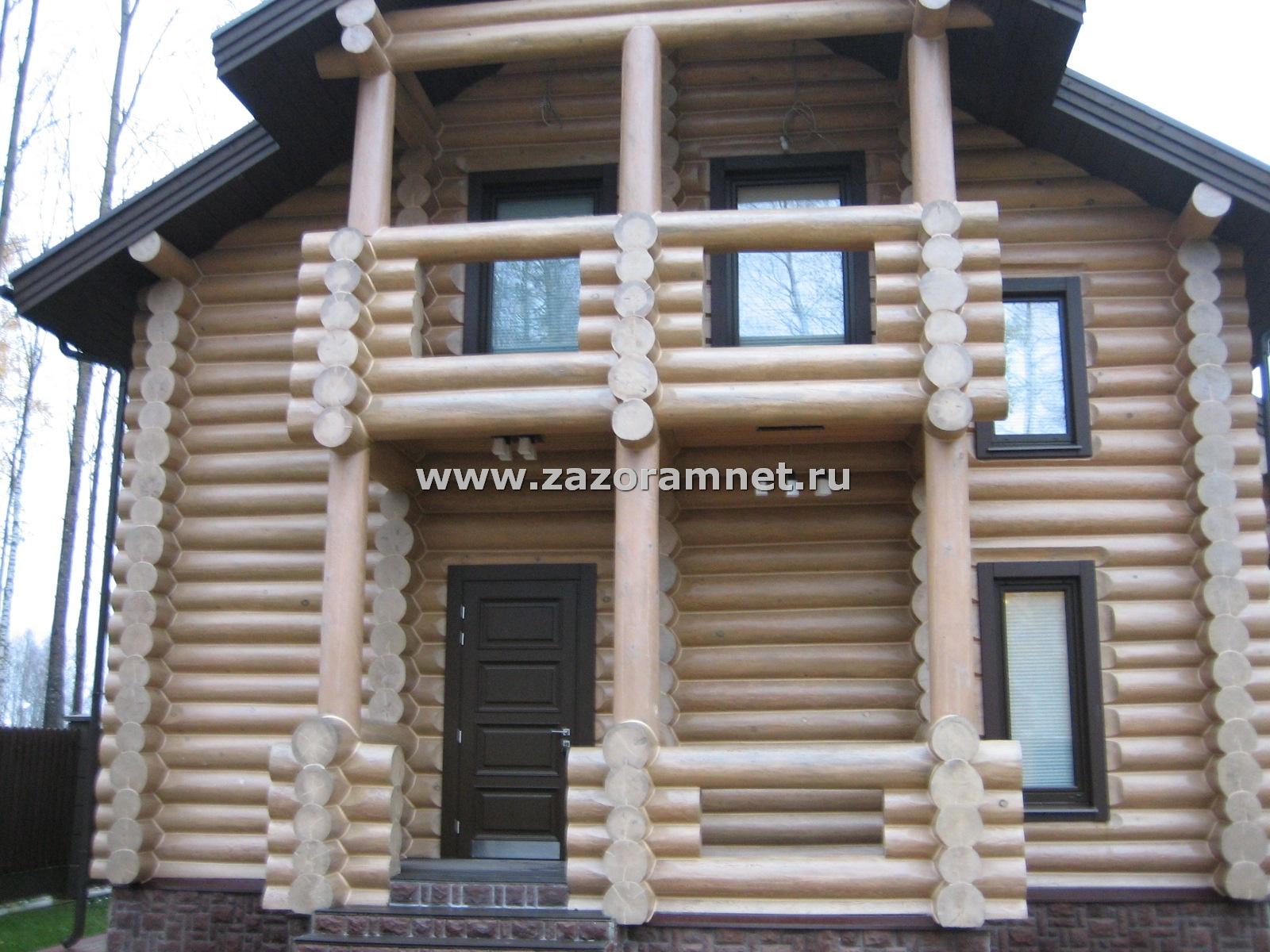 Пример утепления 2-х этажного дома из оцилиндровки, герметиком теплый шов